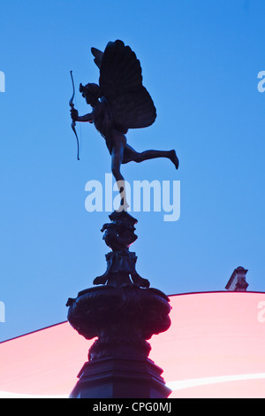 England, London, Piccadilly Circus, Eros Statue - Stock Photo