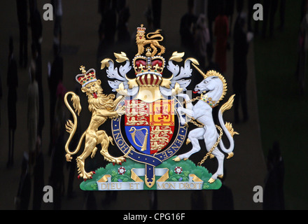 Coat of arms of Queen Elizabeth II in the United Kingdom, Ascot, UK - Stock Photo