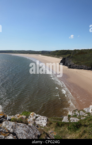 The Golden Sands of Oxwich Bay Viewed From Great Torr Penmaen Burrows Gower Wales UK - Stock Photo