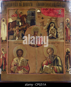 fine arts, religious art, Virgin Mary, Madonna of Chernigov, around the Saints Elias, Demetrius, John Chrysostom, - Stock Photo