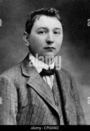 Hasek, Jaroslav, 30.4.1883 - 3.1.1923, Czech author / writer, portrait, based on photograph, circa 1902, - Stock Photo