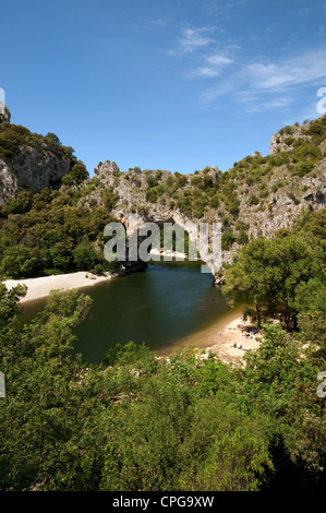 pont d'arc, river ardeche, france - Stock Photo