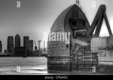 Long Exposure Photography Thames Barrier And Canary Wharf