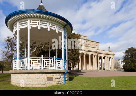 The restored Regency bandstand next to the Pittville Pump Rooms, Cheltenham Spa, Gloucestershire - Stock Photo