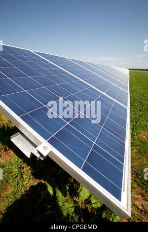 Green Energy Solar Farm Solar Panels Blackwater Newport Isle of Wight England UK Great Britain - Stock Photo