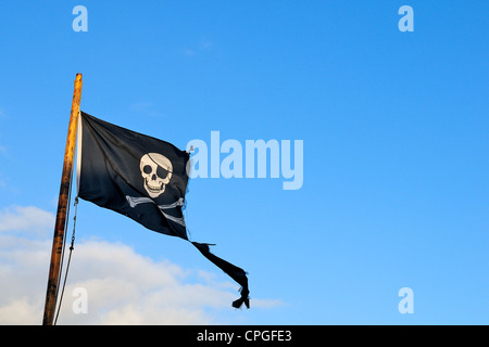 Jolly Roger / skull and crossbones pirate flag - Stock Photo