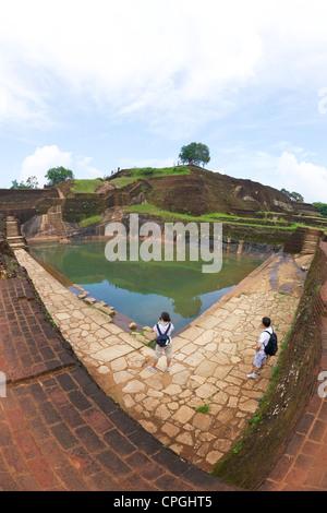 Royal Bathing Pool, summit of Sigiriya Lion Rock Fortress UNESCO World Heritage Site Sri Lanka - Stock Photo