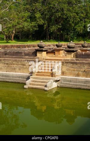 Steps of the Twin Ponds, Kuttam Pokuna, Abhayagiri Complex, UNESCO World Heritage Site, Anuradhapura, Sri Lanka, - Stock Photo