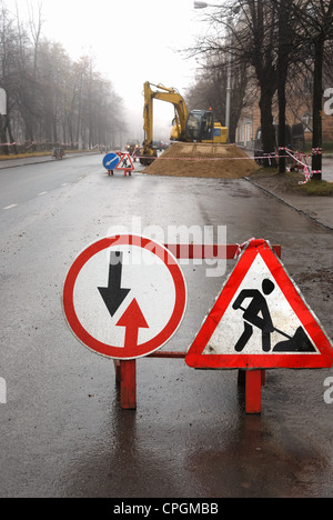 road signs, road works in the sity - Stock Photo