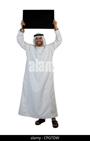 Arab man holding a placard - Stock Photo