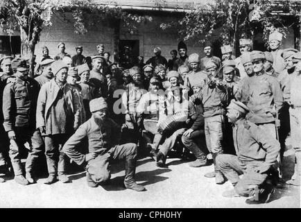 first world war /WWI/, prisoner of war, Russian prisoners in collective point near to Munkacz, Hungary, 1915, Additional - Stock Photo