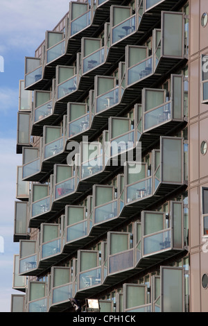 Balcony's at Well designed, studio apartment in the highly desirable Manchester city centre Abito development - Stock Photo
