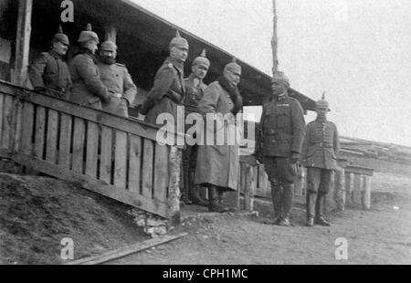 events, First World War / WWI, Balkans, officers of a German railway pioneer unit during the opening of a new field - Stock Photo
