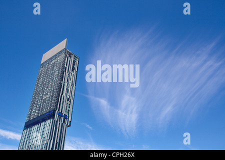 Ian Simpson designed Beetham Tower home to celebrities and the Hilton hotel  in Manchester UK - Stock Photo