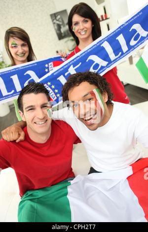 Group of Italian sports fans - Stock Photo