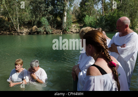 The site of Baptism on the Jordan river in Yardenit on May 18, 2012 in Yardenit, Sea of Galilee, Israel. - Stock Photo