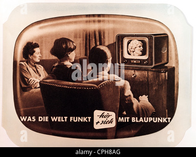 broadcast, television, family with television set by Blaupunkt, tabletop TV set V 53, one the first German postwar - Stock Photo