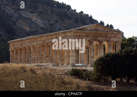 Greek Temple; Segesta, Trapani District, Sicily, Italy. - Stock Photo