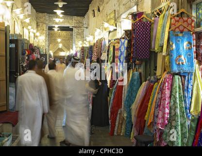 Souq Waqif at night in Doha Qatar - Stock Photo