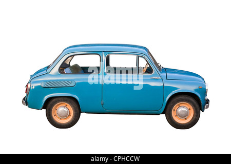 blue subcompact soviet oldtimer car isolated on white background stock photo