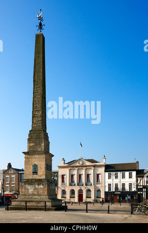 The obelisk and the Market Square, Ripon, North Yorkshire UK - Stock Photo