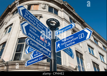 A pedestrian directional street sign located in Oldham Street in Manchester city centre. - Stock Photo