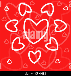 Background - white hearts on red - Stock Photo