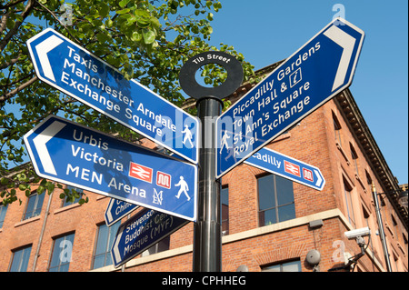 A pedestrian directional street sign located on Tib Street in the Manchester Northern Quarter. - Stock Photo