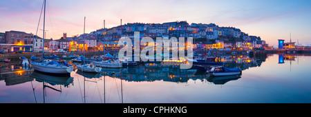 Panorama of Brixham Harbour at Sunset. Devon England UK - Stock Photo