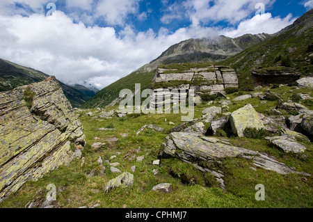 Large erratic boulders deposited in an Alpine valley by a glacier long ago - Stock Photo