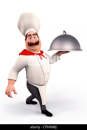 Smiling chef with pot - Stock Photo