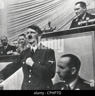 Chancellor Adolf Hitler during his speech to the Reichstag announcing the invasion of Poland, 1st September 1939 - Stock Photo