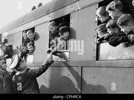 Kinderlandverschickung (sending children to the countryside) in the Government General of Poland, 1943 - Stock Photo