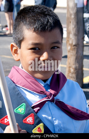 Happy Mexican American Boy Scout participating in parade and fiesta. Mexican Independence Day Minneapolis Minnesota - Stock Photo