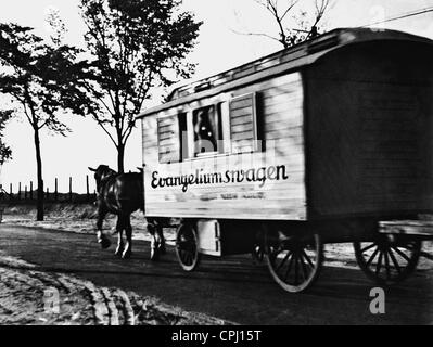 'Gospel car' on the way at the road, 1934 - Stock Photo