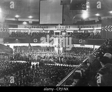 Mass meeting of the Reich Colonial League in the Berlin Sports Palace, 1937 - Stock Photo