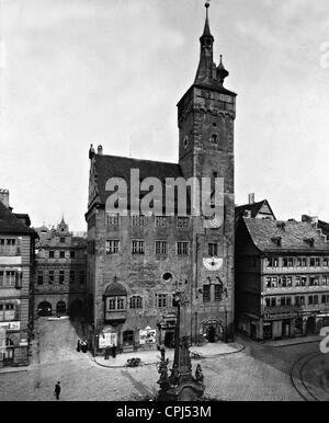 Old city hall in Wuerzburg, 1911 - Stock Photo