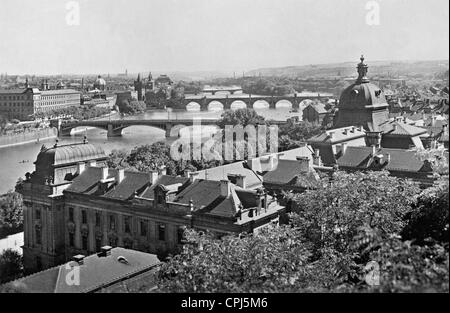 Panorama of bridges in Prague, 1936 - Stock Photo