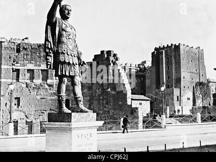 Statue of Nerva and Torre de' Conti in Rome, 1934 - Stock Photo