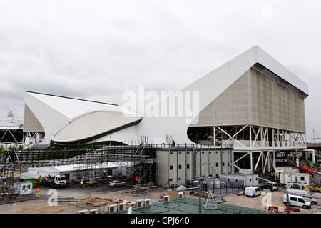 LONDON, UK - MAY 14, 2012: The London 2012 Aquatic Centre under construction. - Stock Photo