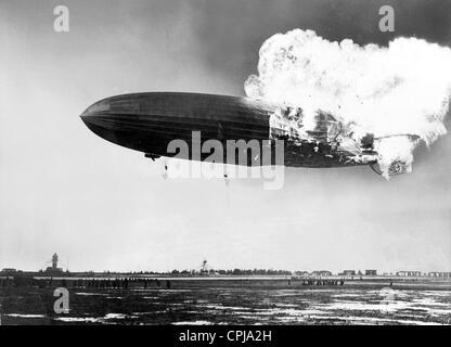 Burning LZ 129 'Hindenburg', 1937 - Stock Photo