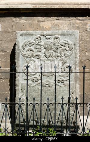 Carved plaque, Sint Matthias Kerk (Saint Matthew's church), Maastricht, Limburg, The Netherlands, Europe. - Stock Photo