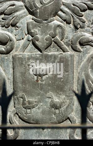 Detail of a carved plaque, Sint Matthias Kerk (Saint Matthew's church), Maastricht, Limburg, The Netherlands, Europe. - Stock Photo