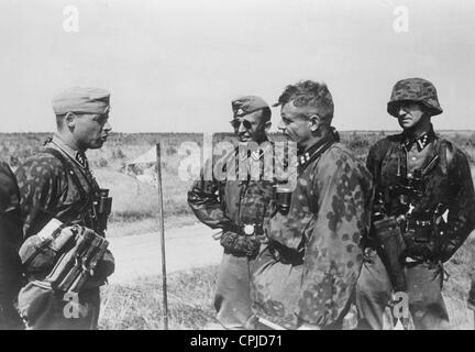 Officers of the Waffen-SS on the Eastern Front, 1941 - Stock Photo