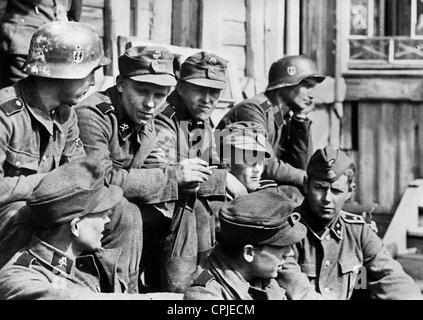 Norwegian soldiers of the Waffen-SS on the Eastern Front, 1942 - Stock Photo