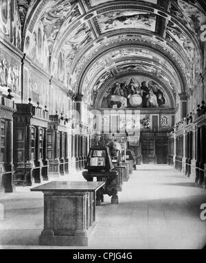 Library in the monastery of El Escorial, 1909 - Stock Photo