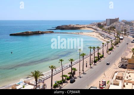 Sea bay and embankment in the city of Monastir, the Mediterranean Sea, Tunisia. Horizontal - Stock Photo