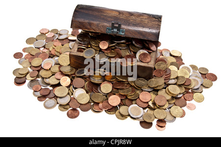 Treasure with Euro-Coins (total view) isolated on white background - Stock Photo