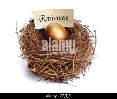 Retirement savings golden nest egg - Stock Photo