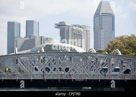 A view of Anderson Bridge with the Esplanade area in the background. - Stock Photo